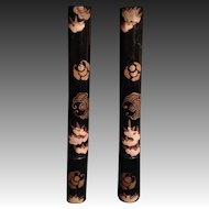Japanese Pair of Lacquered Wood with Gold Makie Byobu Screen Clips
