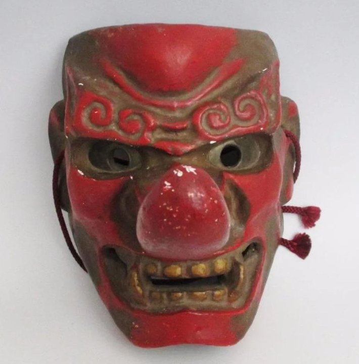 japanese vintage konoha yamabushi tengu mask of mountain and forrest goblins