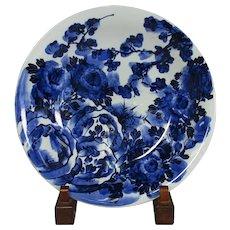 Japanese Antique Edo-Imari Porcelain 14.5 in Charger in Indigo Blue and White