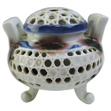 Japanese Vintage Kyoto Ware 京焼き Porcelain Koro or Incense Burner in White Blue and Brown Reticulated, Signed