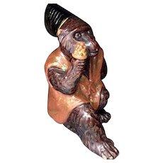 Japanese Vintage Tanba Ware Pottery Okimono or Ornament of Monkey of Kagura 神楽