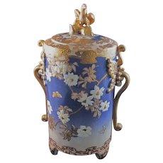 Japanese Vintage Kyoto-Satsuma Pottery  Vessel in Gyosu Blue , Repair
