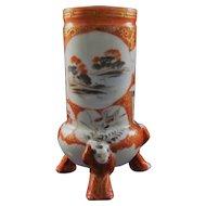 Japanese Antique Kutani Porcelain Hairpin or Toothpick Holder with Karako Tripod Feet