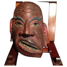 Japanese Antique Wood Noh Mask of Genji Warrior
