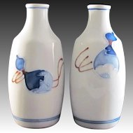 Japanese Vintage Seto-yaki Pair of Porcelain Rosoku Tokkuri or High Shoulder Style Sake Bottle