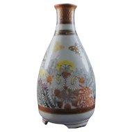 Japanese Vintage Kutani-yaki 九谷焼 Porcelain Sake or Tokkuri Bottle in Mentori Style