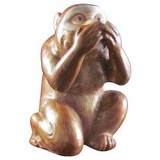 Japanese Antique Kutani Porcelain Ornament or Statue of a Monkey