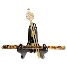 Japanese Antique Pair Hair Ornaments Yellow Gold Resin Type Hirauchi and Faux Tortoiseshell Kanzashi