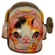 A Japanese Vintage 1950's Tin Litho Wind-up Toy Orange Kitty with Pink Bow