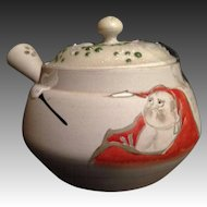 Japanese Antique Banko Ware 萬古 Pottery Teapot with Married Lid and Beautiful Dharma motif