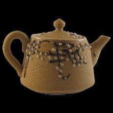Japanese Antique Banko Ware 萬古 Pottery Sharkskin Glazed Sencha Teapot - Red Tag Sale Item