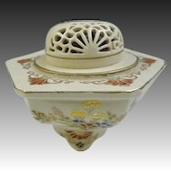 Japanese Vintage Fine Satsuma-yaki 薩摩焼き Pottery Koro or Incense Burner with 菊 Kiku or Chrysanthemum in Sukashi Lid