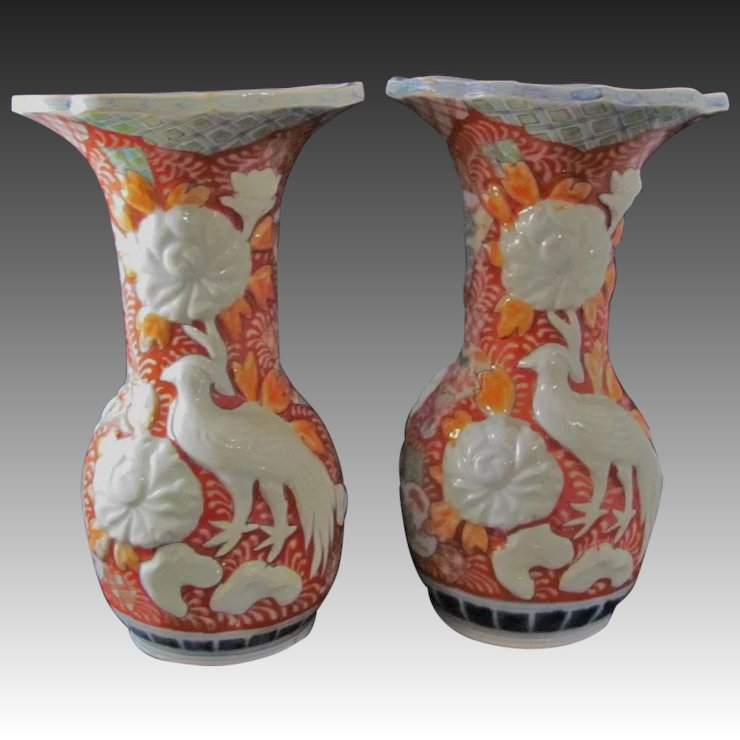 Japanese Antique Pair Of Porcelain Vases Of Some Nishiki By