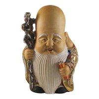 Japanese Kutani 九谷焼  Moriage Porcelain Okimono or Ornament of Fukurokuju God of Happiness