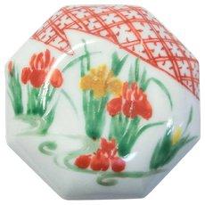 Japanese Vintage Kyoto Ware Porcelain Hakkaku- Zara Kogo by Famous Tameji Okamoto  岡本為治
