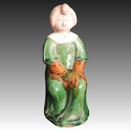 Chinese Kasai Style Glazed Pottery Statue or Ornament of a Lovely Woman