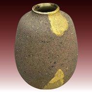Unusual Small Kutani Stoneware Vase by Famous Kitamura Takashi 北村隆