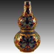 Chinese or Japanese Vintage Butterfly Brocade Enamelled Ground Miniature Gourd Bottle with Cloisonne Inserts