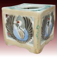 Japanese Antique Seto Ware Porcelain Sake Cup Stand of Crane