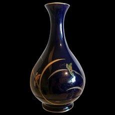 Japanese Vintage Koransha Porcelain Royal Blue Vase with Gold- Red Orchid