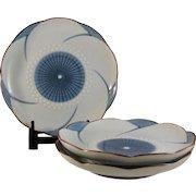Japanese Hasami-yaki 波佐見焼 Porcelain Set of Three Plates Twisted Plum Blossom by Tsurumatsu- kiln 鶴松窯