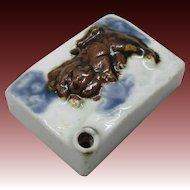 Japanese Edo Antique Famous Hirado 平戸 Porcelain Suiteki Shoda Calligraphy Waterpot Foo Dog