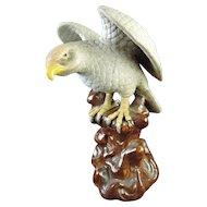 Old Japanese Vintage Porcelain Statue of Washi 鷲 or an Eagle Signed Kutani 九谷
