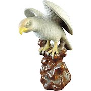 Old Japanese Vintage Porcelain Statue of Washi 鷲 or an Eagle Signed Kutani 九谷