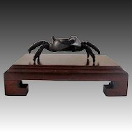 Japanese Antique Patinated Bronze Ornament of a Crab -Small