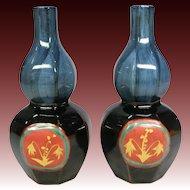 By Japanese Kutani Master Saichi Matsumoto 松本斉一, a Signed Pair of Blue Gourd Sake Bottles