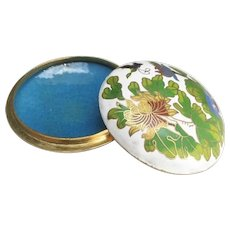 Japanese Vintage Cloisonné and Enameled Brass Floral Kogo or Ink Pad