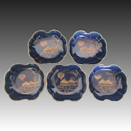 Japanese Antique Meiji Period Azure Glazed Imari Porcelain Set of Five Bowls of Fig