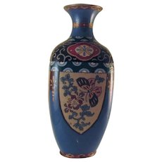 Japanese Vintage Shippo-yaki Cloisonne Vase with Butterfly