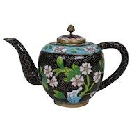 Chinese Vintage Shippo-yaki Cloisonne Floral Teapot