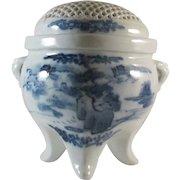 Japanese Antique Hirado 平戸 Porcelain Sometsuke Koro or Incense Burner Reticulated Lid