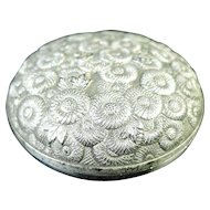 Japanese Vintage Mixed Copper Ware Ink Silver Seal Case of Chrysanthemums by Artist Zuiho