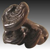 Antique Japanese Edo Boxwood Netsuke 根付 of Reishi Mushroom