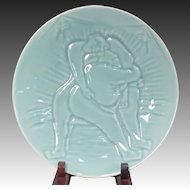 Signed Vintage Japanese Arita-yaki Porcelain Platter of Sumo Wrestlers