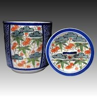 Japanese Vintage Kyo-yaki Kyoto Porcelain Mizusashi Container Three Friends Motif