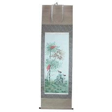 Japanese Vintage Silk Scroll of Sparrows and Red berry Trees