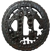 Japanese Antique Edo Real Samurai Tsuba Sword Guard Nanban Style