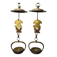 Japanese Vintage Copper Temple Toro Hanging Candle Lamp