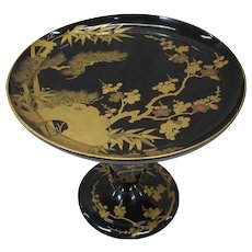 Fine Old Japanese Antique Shikki 漆器 or LacquerBware Takatsuki or Tall Plate with Makie