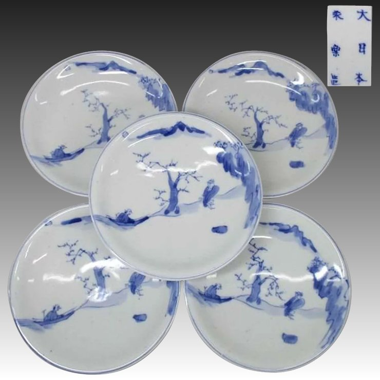 Japanese Antique Blue and White Set of Five Plates by the Great Zengoro Eiraku ?? : antique blue plates - pezcame.com
