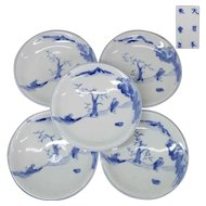 Japanese Antique Blue and White Set of Five Plates by the Great Zengoro Eiraku  永楽