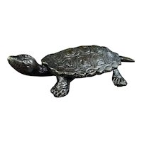 Japanese Vintage Copper Okimono Statue of a Kame or Turtle