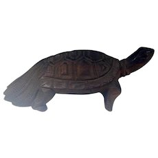 Japanese Vintage Finely Carved Wood Okimono Statue of a Kame or Tortoise Turtle