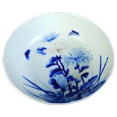 Large Antique Imari Porcelain Blue and White Bowl Butterflies