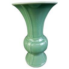 Japanese Vintage Kyoto ware Porcelain Celadon Trumpet Vase