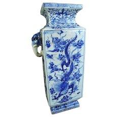 Japanese Antique Kyoto Porcelain Tall Dragon Vase for Ikebana